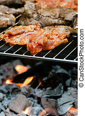 Meat on the grill - Meat is prepared on the grill