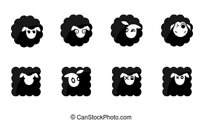 black sheep icons - eight round and square shaped black...