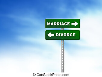 Marriage and Divorce Road Sign - High resolution graphic of...