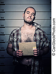 man arrested photo - classic police photo of arrested...