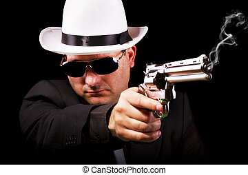 black suit gangster - View of a white suit gangster man...