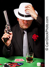 black suit gangster - View of a dark suit gangster man...
