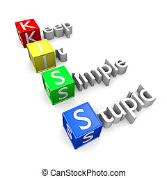 KISS acronym - Keep It Simple Stupid acronym, KISS text 3D...