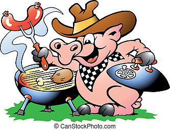 Pig sitting and making BBQ - Hand-drawn Vector illustration...