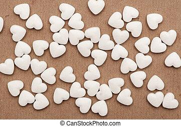 blanco, píldoras, forma, corazón