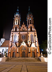 Red basilica in Bialystok, Poland