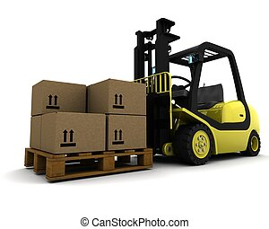 Yellow Fork Lift Truck Isolated on White - 3D Render of...