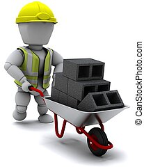 Builder with a wheel barrow carrying bricks - 3D render of a...