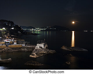 moon light - the little port of Nervi Illuminat the moon and...