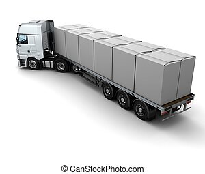 HGV Truck Shipping White Boxes