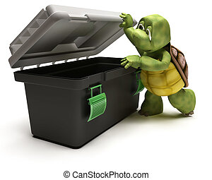 Tortoise with tool box - 3D render of a Tortoise with...