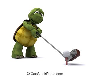 Tortoise Playing golf - 3D Render of a Tortoise Playing golf
