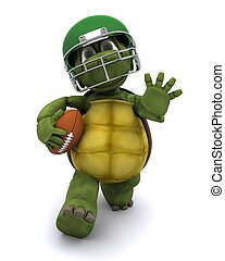 Tortoise running with an american football - 3D Render of a...