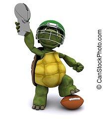Tortoise with an american football