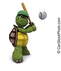 Tortoise playing baseball - 3D Render of a Tortoise playing...