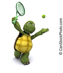Tortoise playing tennis
