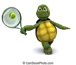 Tortoise playing tennis - 3D Render of a Tortoise playing...