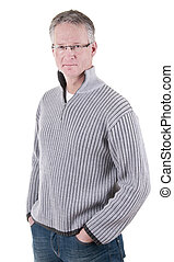 Serious mature man in glasses - Portrait of serious mature...