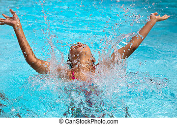 happy girl have fun in the pool, focus on the water drops