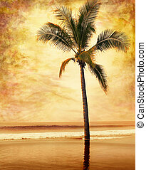 Vintage Grunge Palm - A sepia-toned palm tree done in a...