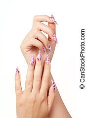 Nails - Two hands with long beautiful nails, on white...
