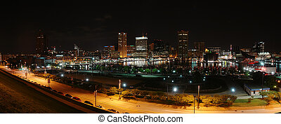 Baltimore at night - Panoramic view of Baltimore at night
