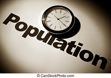 Population - Clock and word of Population for background