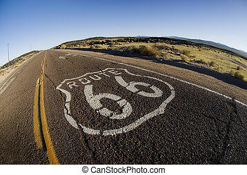 Wide Route 66 Marker - A wide angle view of the old route 66...