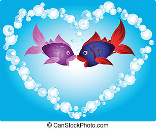 Fish love - Couple of cartoon fish in love, kissing in a...