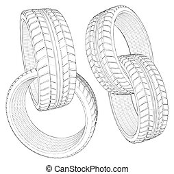 Abstract Four Car Wheel Tire Chain