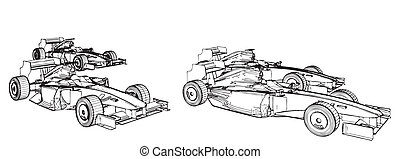 Racing Cars In The Race Vector