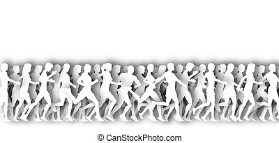 Mass runners cutout - White illustration of many people...