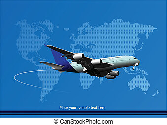 Blue abstract background with passenger plane and world map...