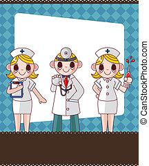 cartoon doctor and nurse card card