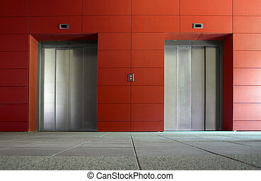 Two elevators - Two elevator doors in a luxurious building