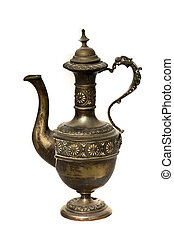 Antique arabic grail isolated on white - Ancient metal jar...
