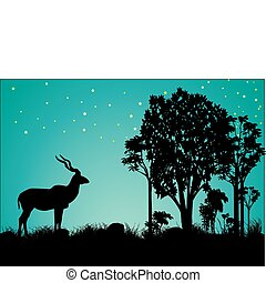 kudu stars and trees silhouette