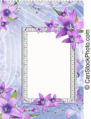 beautiful frame with purple  flowers