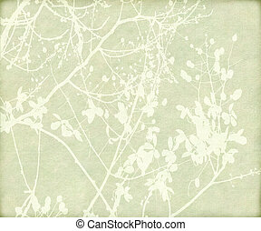 Blossom and Tangled Branch Print on Paper Background