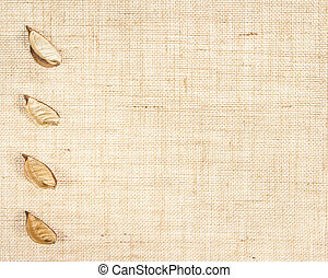 sackcloth baner with leaves as decor. see similar in...