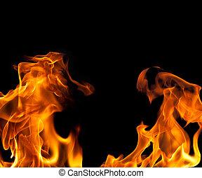 fogo, chama, borda, fundo