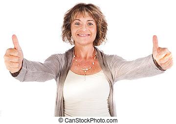 Gorgeous senior lady showing thumbs-up - Happy senior lady...