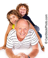 Grandparent lying on floor with grandson isolated on white...
