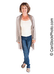 Portrait of a smiling senior woman isolated over white...