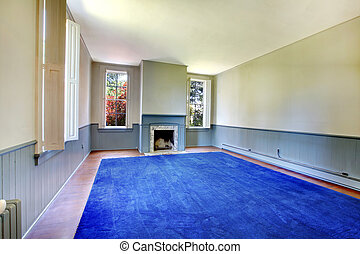 Large historical living room with blue rug and fireplace -...