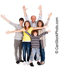 Happy family of five with young kid - Happy family of four...