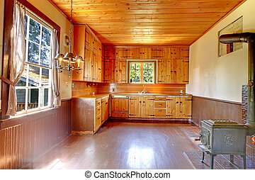 Old historical kitchen interior from US Northwest 1856. -...