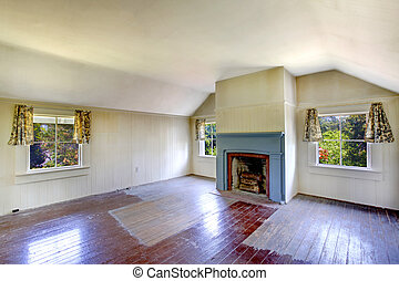 Very old house bedroom with fireplace