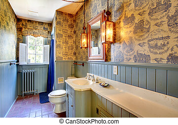 Blue antique bathroom original from 1856 unchanged - Amazing...
