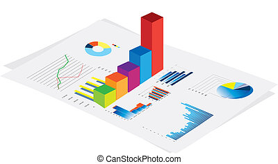 business performance graphs - 3d vector visual of business...
